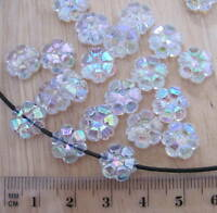 50 clear transparent flower daisy 10mm faceted AB iridescent plastic beads flat