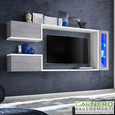 Parete attrezzata soggiorno ALMADA bianco e cemento sospesa moderna con led