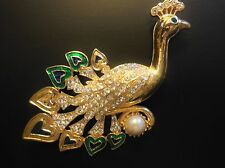 Rhinestone Peacock Gold tone Fashion Brooch Pin Huge Beautiful