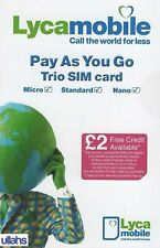 LYCA Mobile Sim Card Pay As You Go 4G Triple Cut Standard/Micro/Nano cheap deal