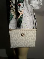 NWT Michael Kors Vanilla Fulton Large EW Crossbody PVC Handbag MK Messenger Bag