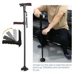 Baston para Caminar con Luz LED Plegable Walking Stick Folding Pivoting Base LED