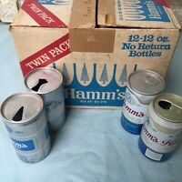 1968 Hamm's Beer Cans & Cardboard Bottle Case Aluminum Pull Top Brewing Gift Can