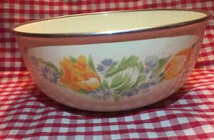 Vintage Enamel Floral Large Dish / Bowl