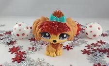 Littlest Pet Shop Brown & Cinnamon Lhasa Apso Dog # 2286 Sparkling Glittery