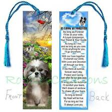 """Shih-Tzu Bookmark w/Tassel """"As Long As Forever"""" Art Dog Puppy Poem Perfect Gift"""
