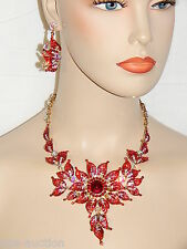 Red Ruby Sunflower W.AB Rhinestone Crystals Necklace and Earrings Set