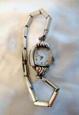 LADIES BULOVA WATCH M4 FOR REPAIR WIND UP 10k R.G.P. BEZEL SILVER STRETCH BAND