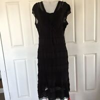 Capture Black Layered Dress Size12 Casual Party Work Cocktail Wedding Boho Style