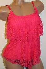 24th & Ocean Size Medium Strawberry Crochet Overlay Tiered Tankini Top NEW
