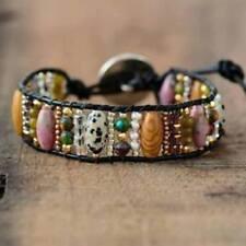 Boho Mixed Natural Stones Leather Wrap Bracelet