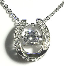 100% 925 Sterling Silver Crystal Pendant Necklace Horseshoe Dancing Gem Jewelry