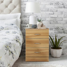 Bedside Table Cabinets Units Nightstand With 3 Drawers Beech