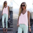 Women Loose Sleeveless Tops Vest Holiday Chiffon Shirts Casual Plus Size Blouse