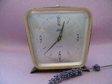 VINTAGE SCHATZ ALARM CLOCK GERMANY1950  ART DECO 8 DAYS BRASS AND ACRYLIC