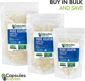 Size 4 Clear Empty Gelatin Pill Capsules Kosher Gel Caps Gluten-Free USA Made