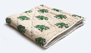 Indian Green Elephant Hand Block Print Baby Quilt Cotton Filled Cotton Coverlet
