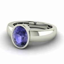 14k White Gold 1.1Ct Natural Tanzanite 5mm Men's Engagement / Wedding Band Ring