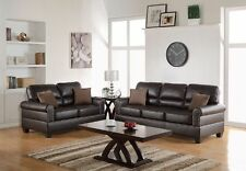 Espresso Bonded Leather 2pc Sofa Set Sofa & Loveseat Comfort Couch Plush Seating