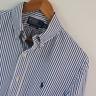 Mens Polo Ralph Lauren Blue White Custom Fit Long Sleeve Shirt Size M Medium