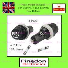 2 Qty Black Panel Mount 5x20mm Fuse Holder & Free Fuses UK Seller