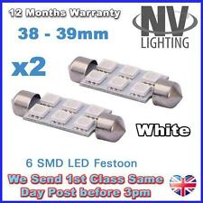 2 X LED LIGHT BULBS T10 FESTOON T10 38MM 39MM - 6SMD - 5050 6 SMD WHITE