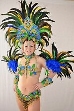 BRAZILIAN FLAG COLORS SHOW GIRL SAMBA CABARET COSTUME bikini/CUSTOM MADE
