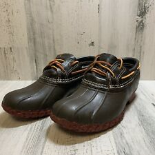 L.L.Bean 504729 Brown US Women's 6M Leather USA Low Ankle Duck Boots