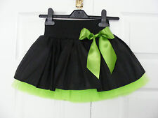 HANDMADE GIRLS BLACK FLO GREEN TUTU MINI SKIRT IRISH DANCE SCHOOL 6- 8 YR