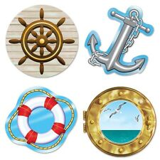 Pack of 4 Nautical Cutouts 35 cm - Cruise Ship Wall Decorations - Seaside Party