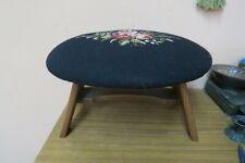 "Vintage Handmade Needlepoint Wood Frame Leg Footstool Bench Stool 14"" X 18"" x10"""
