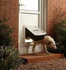 New Pet Door Dog Flap Extra Large 2 Way Lockable Entrance White Gate 456x386 mm