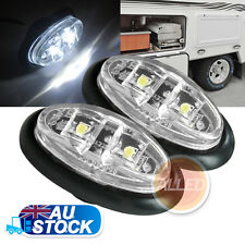 2X12V LED Side Marker Cool White Clearance Lights Indicator Trailer Truck Lamp