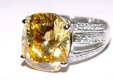 WOW 1.04CT Natural Diamond & Yellow Stone Ring 14K Gold 15x25MM S-7.5