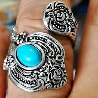 Women Men Blue Copper Turquoise Gemstone Open Ring Flower Pattern Jewelry