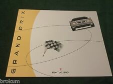 "NEW ORIGINAL 2001 PONTIAC GRAND PRIX DEALER SALES BROCHURE 10"" X 12""  (box 775)"