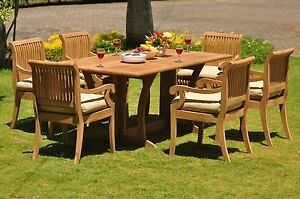 Giva Grade-A Teak 7 Pc Dining 69 Console Rectangle Table Arm Chair Set Outdoor