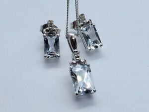 BEAUTIFUL AQUAMARINE & DIAMOND PENDANT & EARRINGS SET