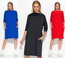 Ladies Casual Oversized Plus Size Loose Knee Length Boat Neck Tunic Dress FA517