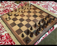Wooden Chess Set Wood Board Crafted Pieces Made Folding Game Vintage