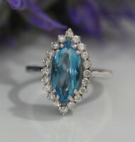 Gorgeous 14K White Gold 4.87ct. Swiss Blue Topaz & Diamonds Luxury Cocktail Ring