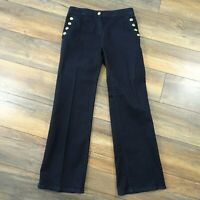 Next 12 Black Wide Leg Denim Jeans Palazzo Flared Large Buttons Womens Ladies