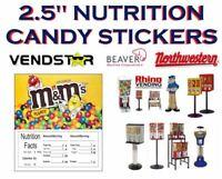 2.5 x 2.5 Bulk Vending Label Candy Machine Sticker Gumball M&M PEANUT