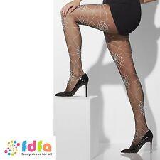 BLACK SPIDERWEB PRINT WITCH OPAQUE TIGHTS HALLOWEEN ladies fancy dress hosiery