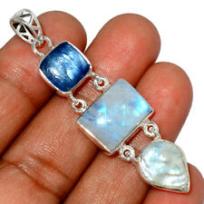 Rainbow Moonstone - India & Kyanite 925 Sterling Silver Pendant Jewelry AP232377