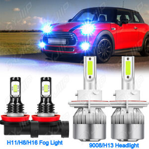 FOR Mini Cooper R56 Clubman R55 8000K LED Headlight High Low Beam+Fog Bulb Light