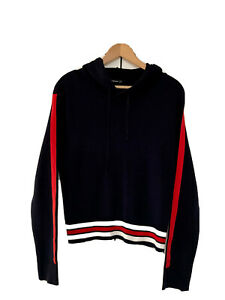 Stradivarius, Hooded Knitted Jumper, Navy With Red Stripe, Size M