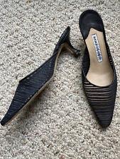 Manolo Blahnik Black Mesh Mules Sz 6.5 36.5 Low Kitten Heels Pointed Toes