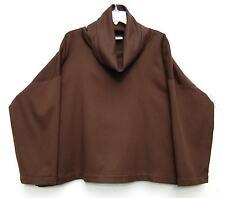 NEW Eskandar DARK BROWN Cashmere Monk Cowl Neck Boxy Tunic Top (1) $1690
