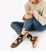 Zara nuevo al tobillo con Cordones Bailarinas Flats Sandalias De Cuero Real De Leopardo Talla 5